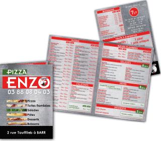 Depliant tarifs 4 pages 1 pli pizza enzo barr fil graff